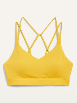 Light Support Strappy V-Neck Sports Bra for Women