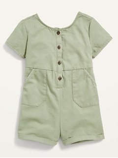 Tie-Back Short-Sleeve Twill Utility Romper for Toddler Girls