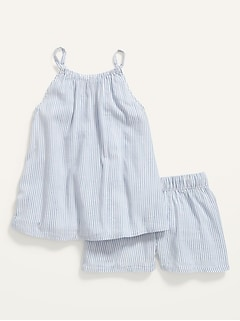 Sleeveless Pinstripe A-Line Top and Shorts Set for Toddler Girls