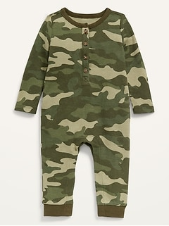 Unisex Long-Sleeve Thermal Henley One-Piece for Baby