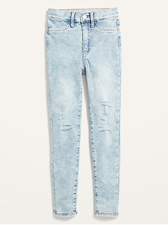 Ballerina 360° Stretch High-Waisted Ripped Light-Wash Jeggings for Girls