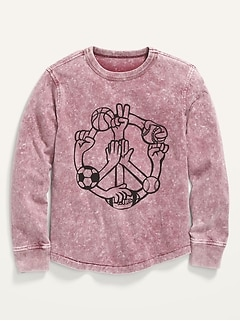Gender-Neutral Mineral-Dye Graphic Long-Sleeve T-Shirt for Kids