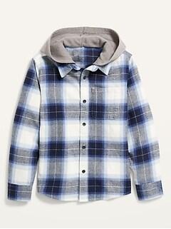 Chemise en flanelle à capuchon et à poche pour Garçon