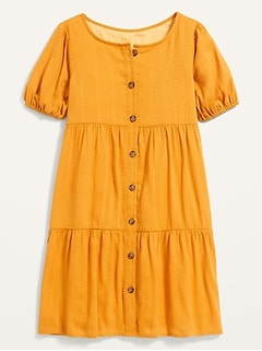 Button-Front Tiered Textured-Dobby Swing Dress for Girls