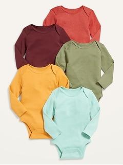 Unisex 5-Pack Long-Sleeve Bodysuit for Baby