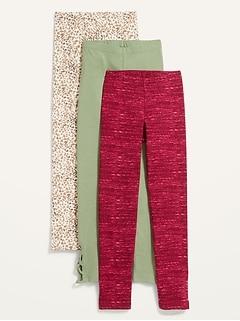 Full-Length Built-In Tough Leggings Variety 3-Pack for Girls