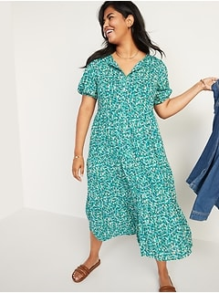 Floral Puff-Sleeve Button-Front Midi Swing Dress for Women