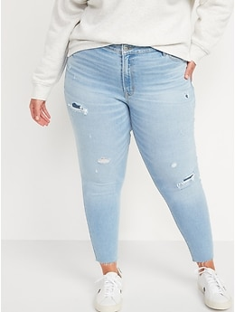 Mid-Rise Rockstar Super Skinny Ripped Jeans for Women