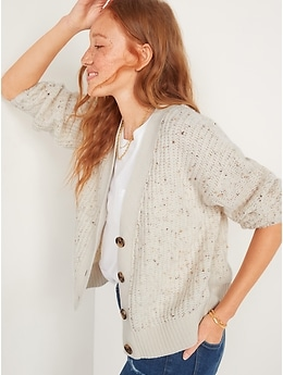 Cozy Shaker-Stitch Button-Front Speckled Cardigan Sweater for Women