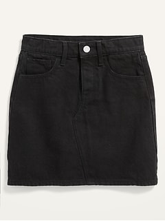 High-Waisted Button-Fly Black-Wash Jean Skirt for Girls