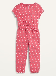 Short-Sleeve Printed Jersey One-Piece for Toddler Girls