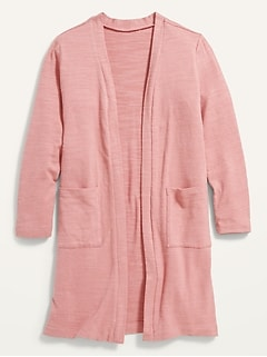 Cozy-Knit Super-Long Open-Front Sweater for Girls