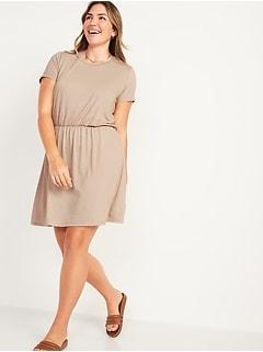 Waist-Defined Short-Sleeve Slub-Knit Mini Dress for Women