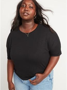 T-shirt surdimensionné en tricot flammé luxueux à manches courtes pour Femme