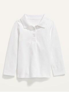 Uniform Long-Sleeve Pique Polo for Toddler Girls
