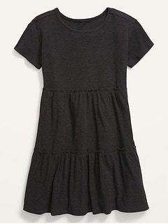 Tiered Rib-Knit Short-Sleeve Dress for Girls