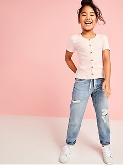 High-Waisted O.G. Straight Built-In Tough Button-Fly Non-Stretch Jeans for Girls