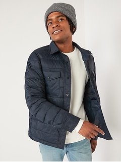 Water-Resistant Puffer Shacket for Men