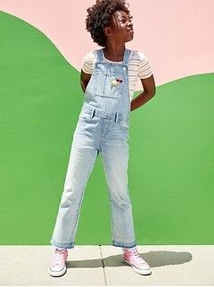 Slouchy Straight Light-Wash Frayed-Hem Jean Overalls for Girls