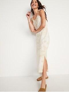 Sleeveless Tie-Shoulder Tie-Dye Cami Midi Swing Dress for Women