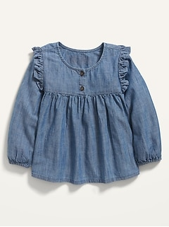 Long-Sleeve Ruffle-Trim Chambray Top for Toddler Girls