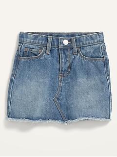 Medium-Wash Frayed-Hem Jean Skirt for Toddler Girls