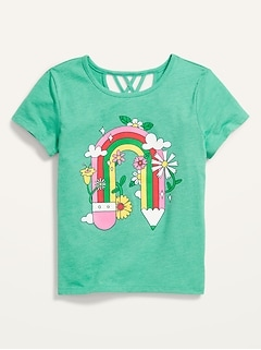 Short-Sleeve Lattice-Back Graphic T-Shirt for Girls