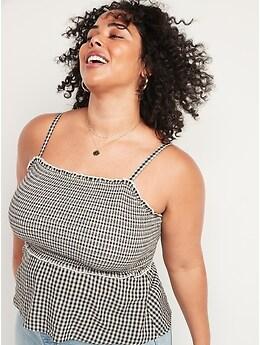Sleeveless Smocked-Bodice Gingham Top for Women