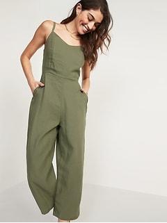 Linen-Blend V-Neck Cami Jumspsuit for Women