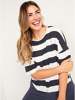 Oversized Luxe Striped Tee for Women