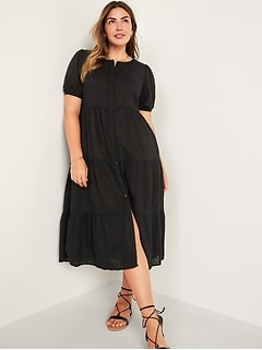 Puff-Sleeve Clip-Dot Button-Front Midi Swing Dress for Women