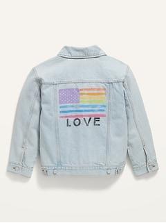 Gender-Neutral Oversized Non-Stretch Jean Trucker Jacket for Kids