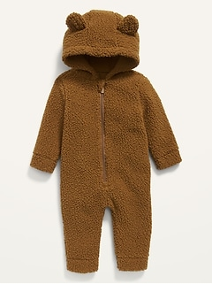 Unisex Bear-Critter Sherpa One-Piece for Baby