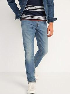 Slim Rigid Non-Stretch Medium-Wash Jeans for Men