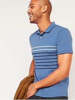 Moisture-Wicking Striped Pique Pro Polo Shirt for Men