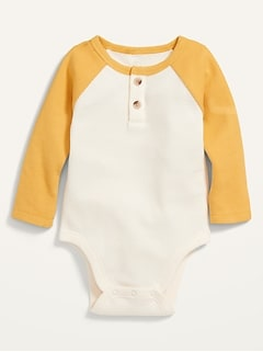 Unisex Raglan Thermal Henley Bodysuit for Baby