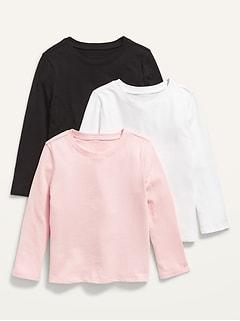 Unisex 3-Pack Long-Sleeve Crew-Neck T-Shirt for Toddler