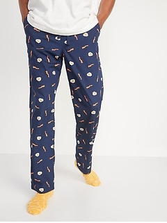 Printed Poplin Pajama Pants for Men