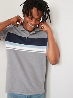 Moisture-Wicking Chest-Stripe Pique Pro Polo Shirt for Men