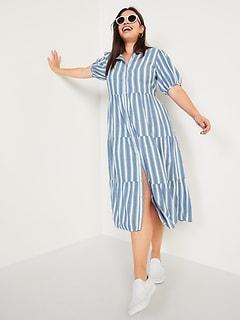 Puff-Sleeve Tiered Striped Midi Swing Dress for Women