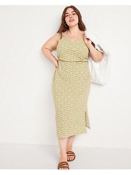 Robe-camisole mi-longue à fleurs à taille définie pour Femme