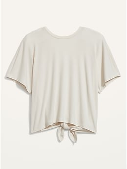 T-shirt en tricot côtelé UltraLite noué au dos pour Femme