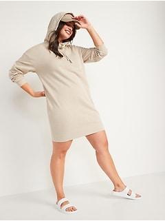 Hooded Sweatshirt Shift Dress for Women