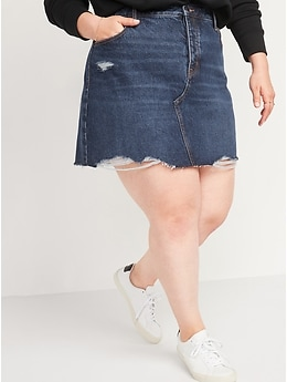 High-Waisted Button-Fly Cut-Off Jean Skirt for Women