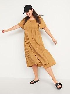 Dobby Bell-Sleeve Midi Swing Dress for Women