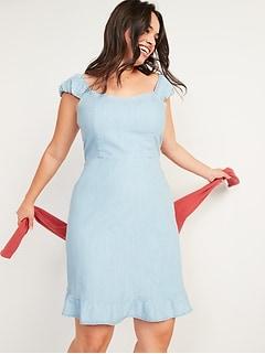 Fit & Flare Puff-Sleeve Jean Mini Dress for Women