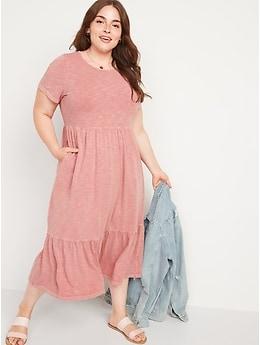 Garment-Dyed Fit & Flare Slub-Knit Midi Dress for Women