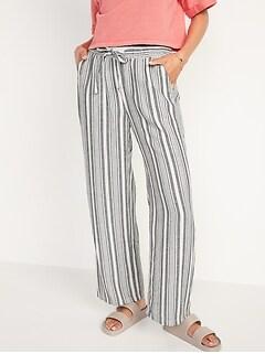 High-Waisted Striped Linen-Blend Wide-Leg Pants for Women