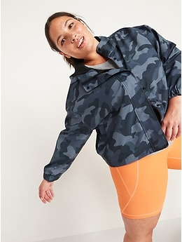 Water-Resistant Hooded Cropped Utility Jacket for Women