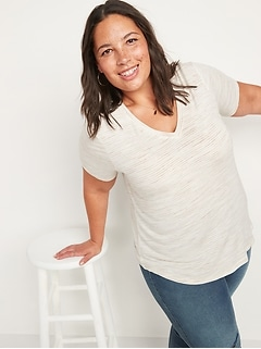 Luxe Space-Dye V-Neck Tee for Women